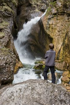 Free Boy Watching The Waterfall Stock Images - 5309174