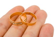 Wedding Gold Rings On Hand Stock Image
