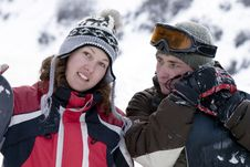 A Lifestyle Image Of Two  Snowboarders Stock Photos