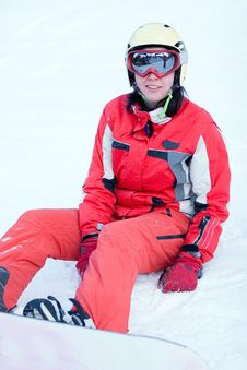 Free Beautiful Girl Snowboarder After Incidence Stock Image - 5311581