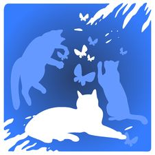 Free Cats And Butterflies Royalty Free Stock Photos - 5311988
