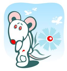 Mousy And Flower Royalty Free Stock Image