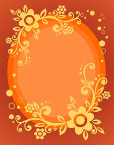 Orange Floral Frame Stock Photo