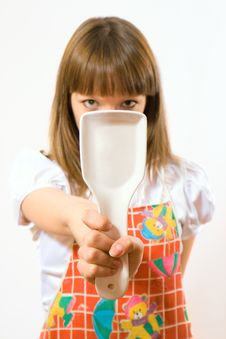 Free Young Girl Holding Spoon Stock Photography - 5312202
