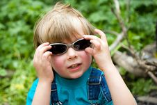 Blond Beautiful Funny Boy With Sunglasses Stock Image
