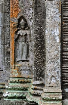 Cambodia; Angkor; Ta Prohm Temple; Apsara Royalty Free Stock Photography