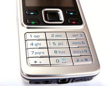 Free Silver Mobile Phone Close-up Isolated Stock Photo - 5312480