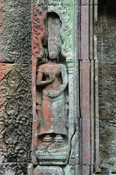 Cambodia; Angkor; Ta Prohm Temple: Apsara Stock Image