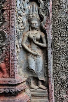 Free Cambodia; Angkor; Ta Prohm Temple:apsara Stock Photos - 5312603