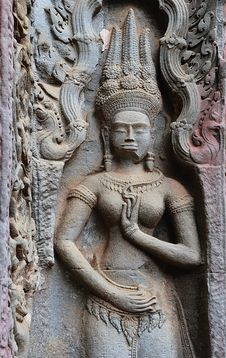 Cambodia; Angkor; Ta Prohm Temple: Apsara Stock Photography