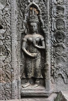 Cambodia; Angkor; Ta Prohm Temple: Apsara Stock Images