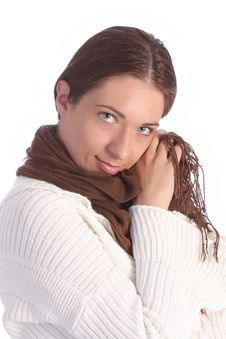 Free Beautiful Young A Woman With Brown Scarf Stock Photo - 5315220