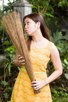 Free Maid With Stick Broom Royalty Free Stock Photos - 5315458