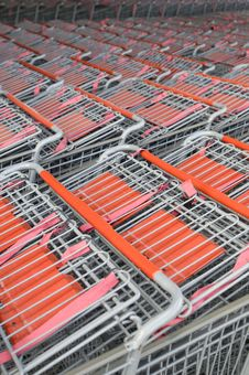 Rows Of Shopping Carts Royalty Free Stock Photos