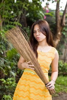Lady With Broom Stock Photos