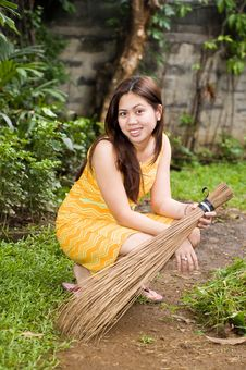 Beauty And The Broom Stock Image