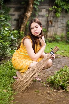 Beauty And The Broom Stock Photography