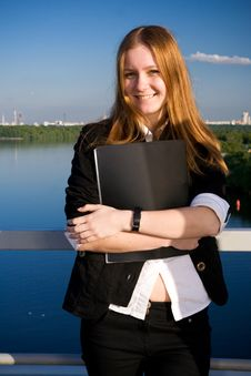Free The Young Businesswoman With A Folder Royalty Free Stock Photography - 5315687