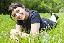 Free Young Girl Laying In Grass Royalty Free Stock Photos - 5316448
