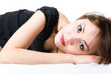 Free Young Japanese Girl Lying On The Floor. Stock Photography - 5316662