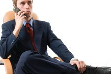 Close-up Businessman Sitting On An Armchair Stock Photo