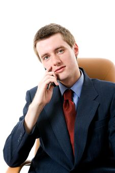 Businessman With Cell Phone. Stock Photography