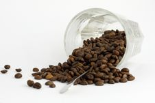 Free Coffee Grains And Upset Glass Stock Images - 5318064