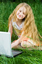 Free Funny Little Girl Sitting With Laptop Outside Stock Photos - 5322793