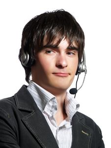 Free Call Center Operator With Headset Royalty Free Stock Photos - 5321098