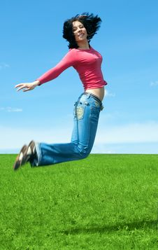 Free Woman Jump In Green Field Stock Photo - 5321460