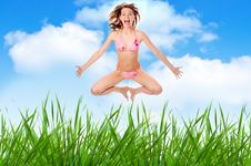 Free Woman In Lingerie Jump Over Grass Royalty Free Stock Photo - 5321615