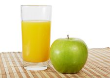 The Glass Of Orange Juice And Green Apple Royalty Free Stock Images