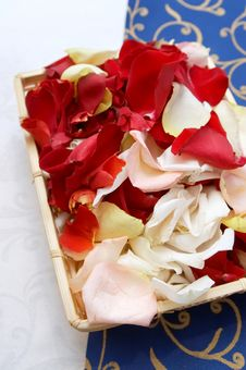 Free Petals Roses In Basket Cloth Royalty Free Stock Images - 5325499