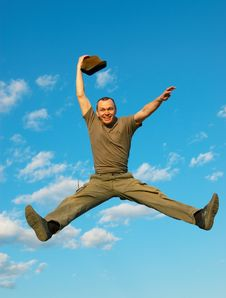 Free The Man Jumps Royalty Free Stock Image - 5325876