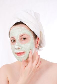 Free Female With Green Mask, Cream Stock Photos - 5326253