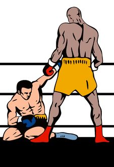 Boxer Standing Over Challenger Royalty Free Stock Images