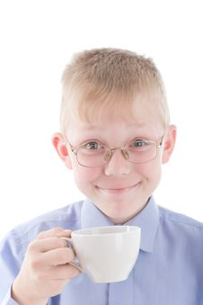 Free Boy Enjoying A Nice Warm Cup Of Coffee Royalty Free Stock Photography - 5327517