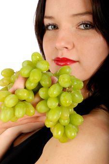 Grape And Woman Stock Photos
