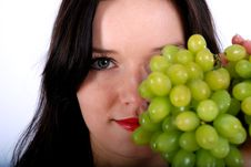Grape And Woman Royalty Free Stock Image