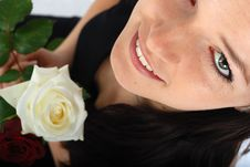 Free Women And White Rose Royalty Free Stock Photo - 5329785