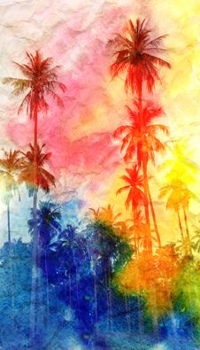 Free Retro Watercolor Palm Royalty Free Stock Photos - 53212258