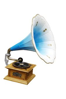 Old Fashioned Blue Gramophone Isolated Royalty Free Stock Photo