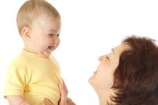 Small Baby With Mother Isolated Stock Photography