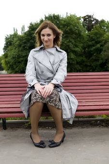 Free Woman Sitting On The Bench Stock Image - 5333351