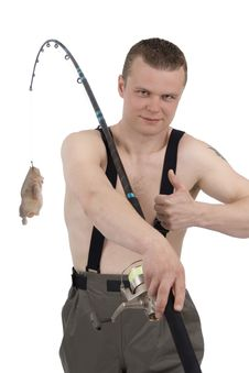Free Fisherman With Chicken On Fishhook Royalty Free Stock Photos - 5335068