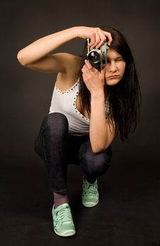 Free Young Girl With Old Camera Stock Photo - 5335310