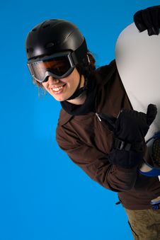 Woman With Snowboard Equipment Royalty Free Stock Image