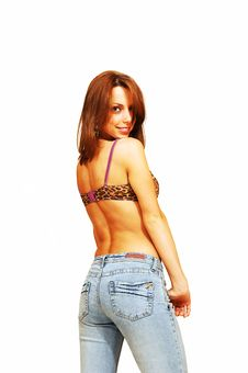 Free Standing Woman In Jeans And Bra. Stock Image - 5337151