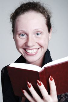Free Woman With Red Diary Stock Images - 5337274
