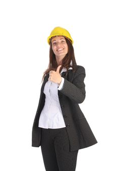 Free Young Businesswoman With Helmet Stock Image - 5337391